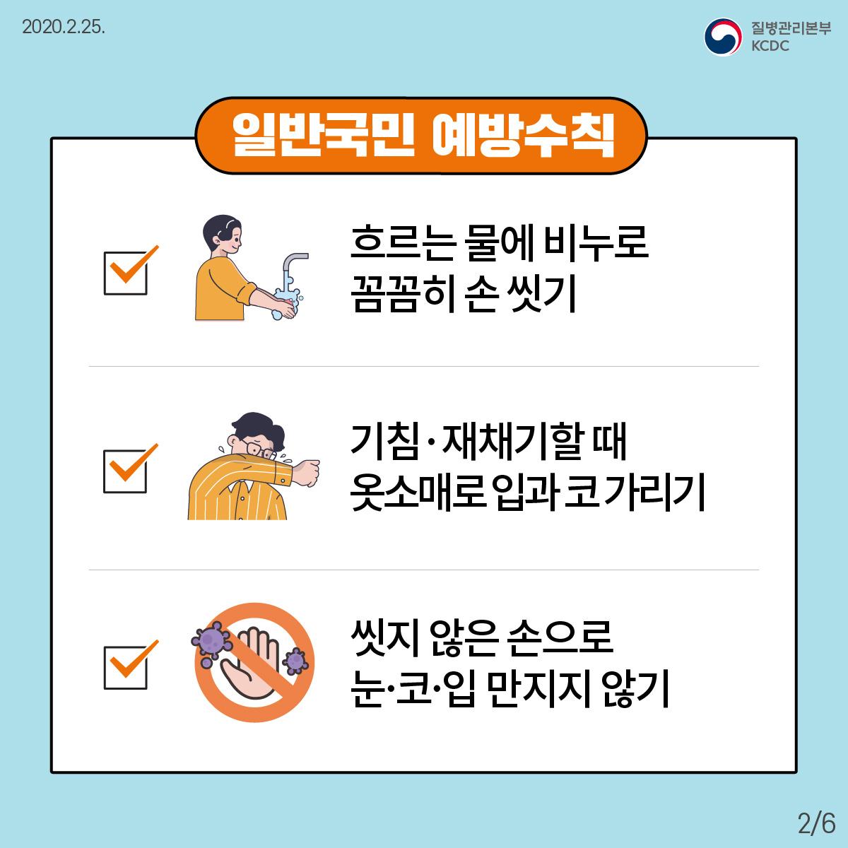 일반국민 예방수칙 1. 흐르는 물에 비누로 손을 꼼꼼하게 씻으세요. 2. 기침이나 재채기할 때 옷소매로 입과 코를 가리세요. 3. 씻지 않은 손으로 눈·코·입을 만지지 마십시오.