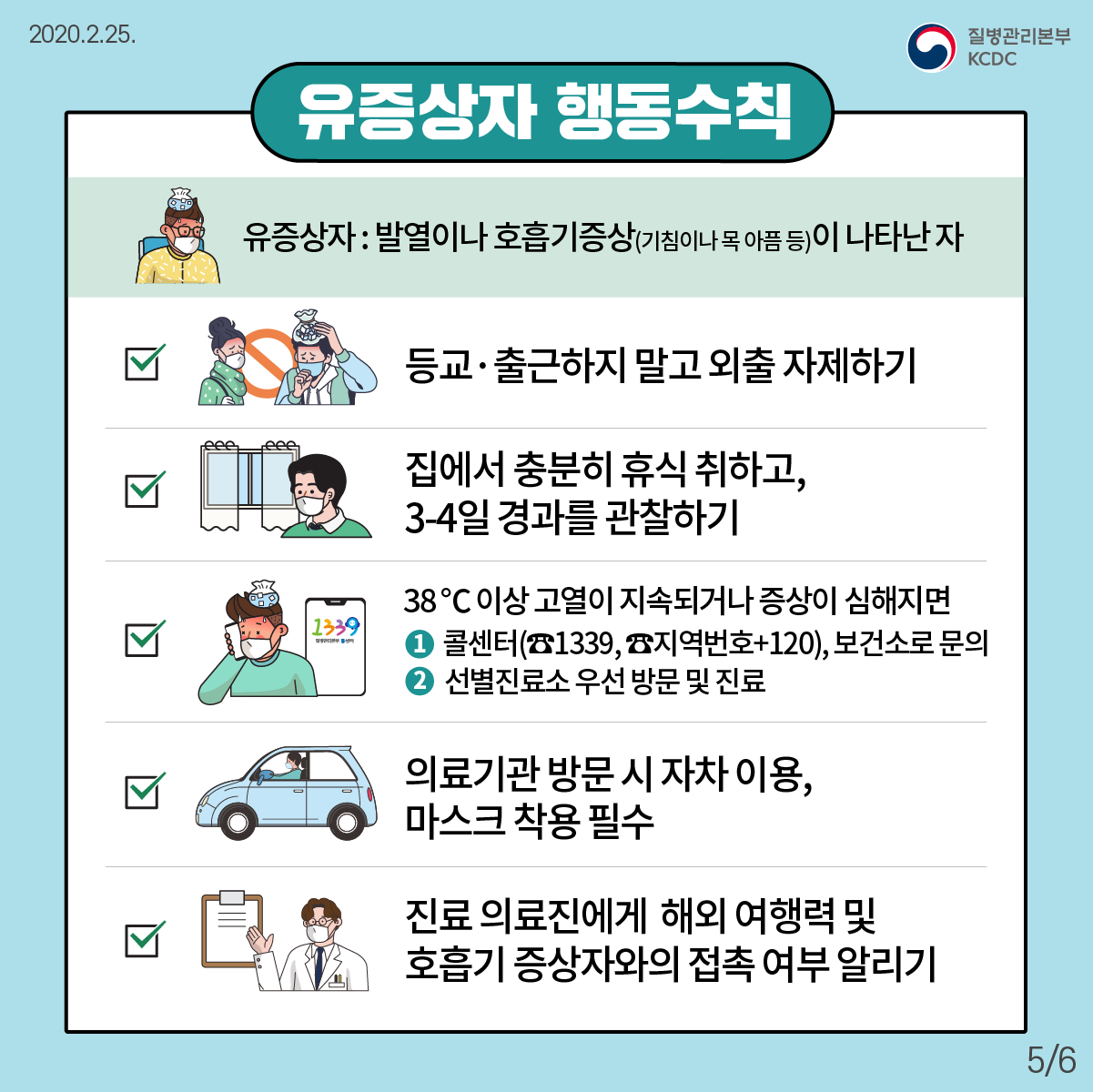 유증상자 행동수칙 유증상자 : 발열이나 호흡기증상(기침이나 목아픔 등)이 나타난 사람 1. 등교나 출근을 하지 마시고 외출을 자제해 주십시오. 2. 집에서 충분히 휴식을 취하시고 3-4일 경과를 관찰하여 주십시오. 3. 38도 이상 고열이 지속되거나 증상이 심해지면 ① 콜센터(☎1339, ☎지역번호+120), 보건소로 문의하거나 ② 선별진료소를 우선 방문하여 진료를 받으세요. 4. 의료기관 방문시 자기 차량을 이용하고 마스크를 착용하십시오. 5. 진료 의료진에게 해외 여행력 및 호흡기 증상자와 접촉 여부를 알려주세요.