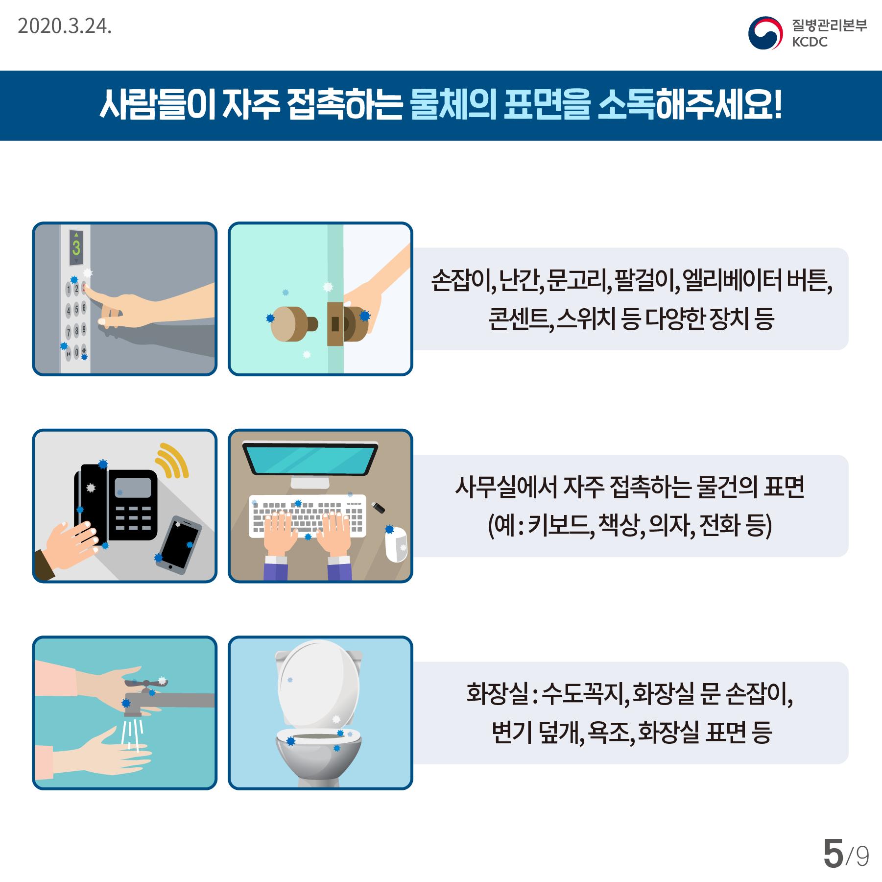 2020.3.24  질병관리본부 KCDC  사람들이 자주 접촉하는 물체의 표면을 소독해주세요!  손잡이, 난간, 문고리, 팔걸이, 엘리베이터 버튼, 콘센트, 스위치 등 다양한 장치 등  사무실에서 자주 접촉하는 물건의 표면(예:키보드, 책상, 의자, 전화 등)  화장실: 수도꼭지, 화장실 문 손잡이, 변기 덮개, 욕조, 화장실 표면 등