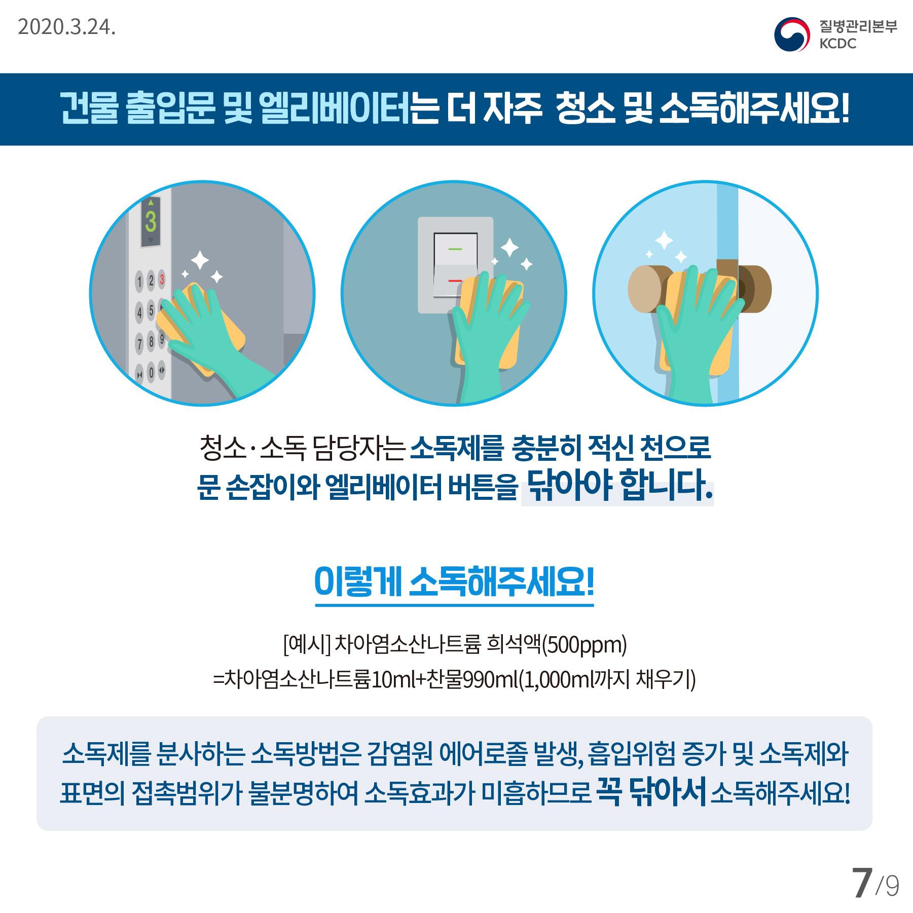 2020.3.24  질병관리본부 KCDC  건물 출입문 및 엘리베이터는 더 자주 청소 및 소독해주세요!  청소 ·  소독 담당자는 소독제를 충분히 적신 천으로 문 손잡이와 엘리베이터 버튼을 닦아야 합니다.   이렇게 소독해주세요! [예시] 차아염소산나트륨 희석액(500ppm) =  차아염소산나트륨 10ml + 찬물 990 ml (1,000ml 까지 채우기)  소독제를 분사하는 소독방법은 감염원 에어로졸 발생, 흡입위험 증가 및 소독제와 표면의 접촉범위가 불분명하여 소독효과가 미흡하므로 꼭 닦아서 소독해주세요!