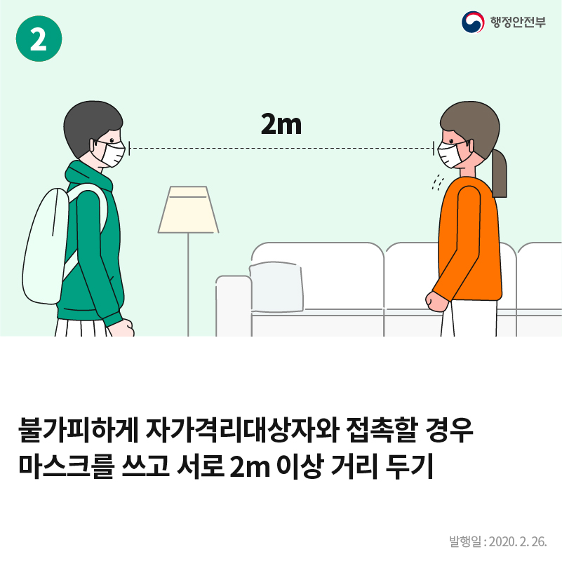 2. 행정안전부 2m 불가피하게 자가격리대상자와 접촉할 경우 마스크를 쓰고 서로 2m 이상 거리 두기